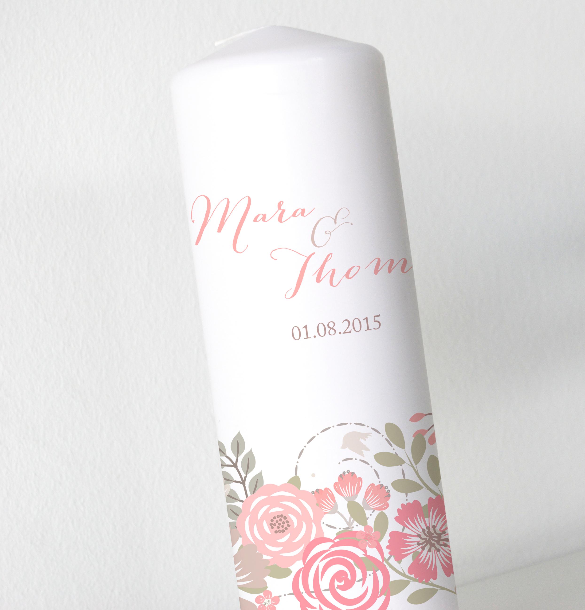 Hochzeitskerze - Blumenbanderole
