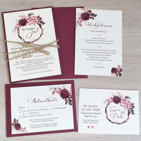Einladung Hochzeit Boho Aquarell Blumen Mywedding