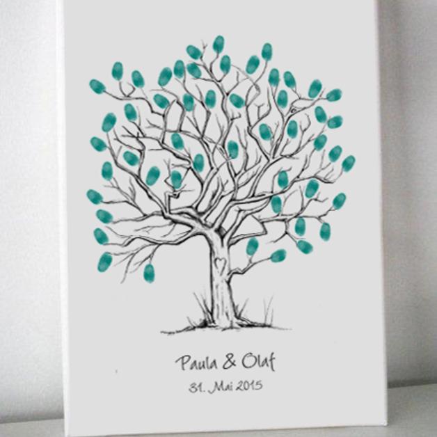 Geliebte Wedding-Tree | Gästebuch Hochzeit | Fingerabdrücke | Leinwand @ZR_57