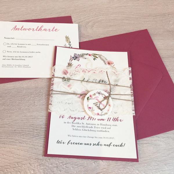 Einladung Hochzeit Boho Scarletrot Blumen Kranz Mywedding