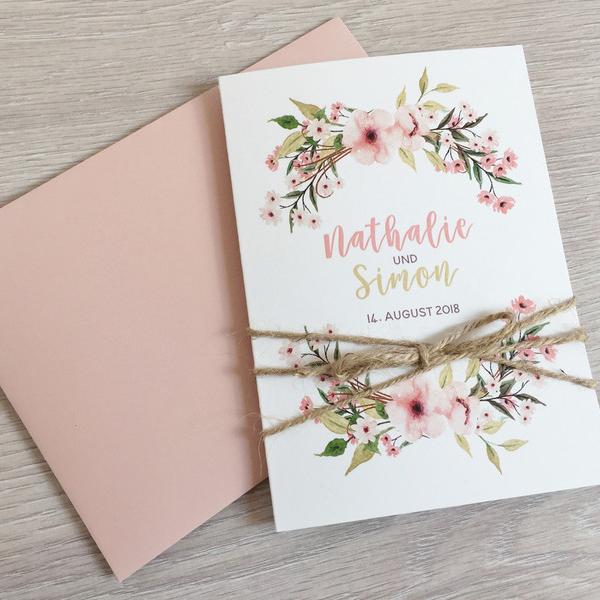Einladung Hochzeit Boho Aquarell Blumen Traumfanger Mywedding