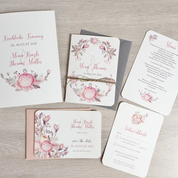 Einladung Hochzeit Boho Aquarell Blumen Rosen Mywedding