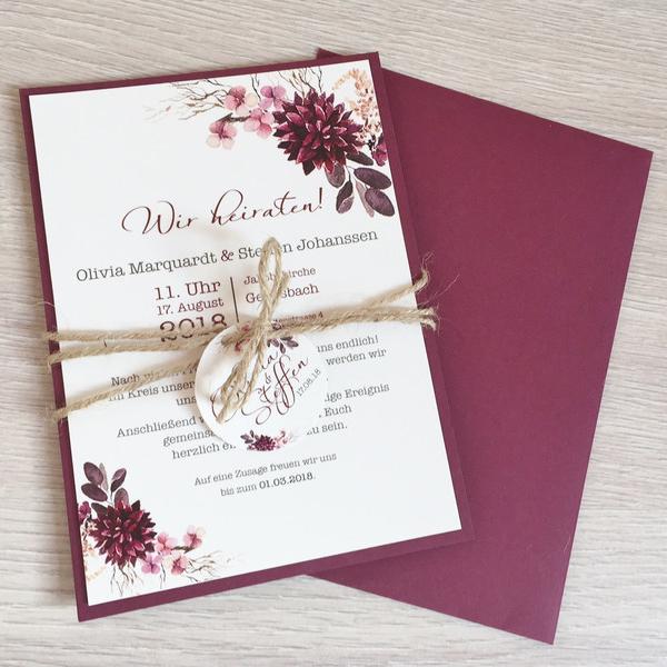Einladung Hochzeit Boho Herz Blumen Mywedding