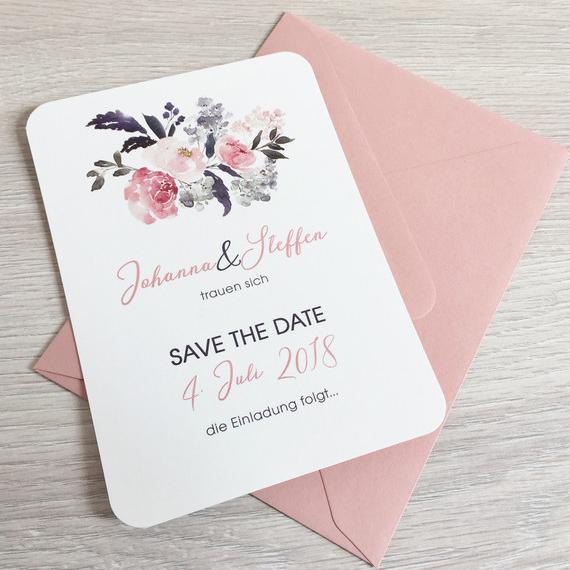 Save The Date Karten Hochzeit Einladungen Misty Rose Blumen Vintage