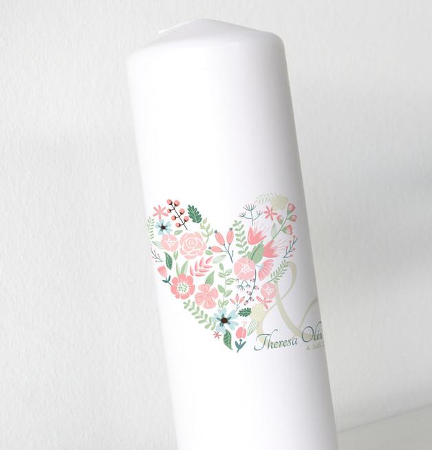 Hochzeitskerze - Blumenherz