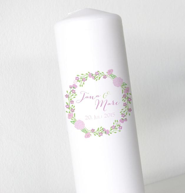 Hochzeitskerze - Blumenkranz V