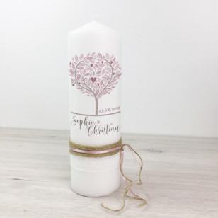 Hochzeitskerze - Baum Vintage - Spitze & Bänder