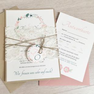 Einladung - Boho & Altrosa