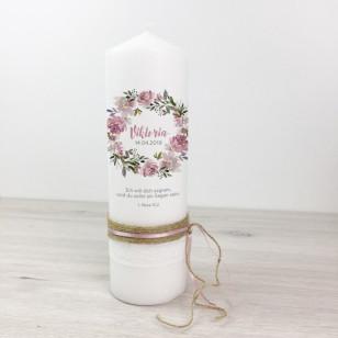 Taufkerze - Blumenkranz Spitze & Bänder