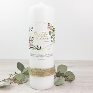 Hochzeitskerze - Eukalyptus, Rosen mit Natur- & Goldband 39