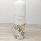 Hochzeitskerze - Magnolien 38 mit Naturband