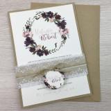 Einladung - Kranz Bordeaux & Kraftpapier