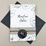 Einladung - Klappkarte Schwarz-Weiß 12,7 x 17,8 cm