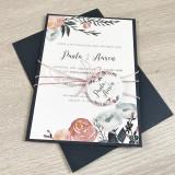 Einladung - Navy/Rosa