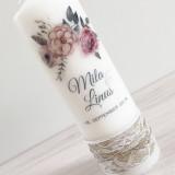 Hochzeitskerze - Aquarellblumen - Banderole