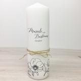 Hochzeitskerze - Naturband & Blumen 30
