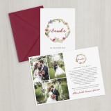 Danksagungskarte - Vintage/Blumen III - Scarletrot - A6 inkl. Umschlag