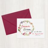 Save the Date Karte - Vintage/Blumen III Scarlett-Rot
