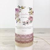 Taufkerze - Blumenkranz Altrosa & Spitze