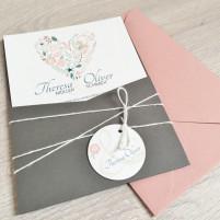 Einladung - Vintage/Blumenherz