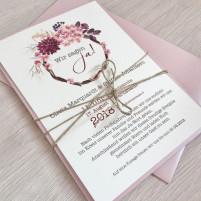 Einladung - Vintage/Schlicht Misty Rose/Pocketkarte