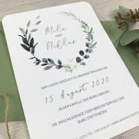 """Einladung - Blätterkranz """"Greenery"""""""