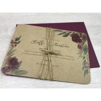 Einladung - Bordeaux & Kraftpapier