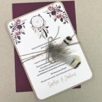Einladung - Federn & Bordeaux