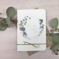 Einladung - Eukalyptus & Bordeaux Klappkarte