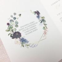 Einladung - Eukalyptus & Bordeaux Klappkarte ohne Umschlag