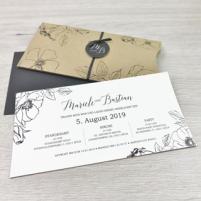 Einladung - Pocket Kraftpapier Blumen