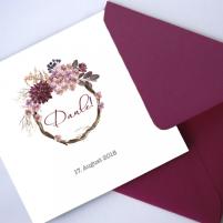Danksagungskarte - Bordeaux & Blumenkranz - 14,8x14,8 cm inkl. Umschlag