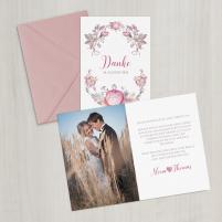 Danksagungskarte - Vintage/Blumen/Pastell - A6 inkl. Umschlag