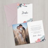 Danksagungskarte - Misty Rose/Blau - A6 inkl. Umschlag
