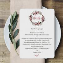 Menükarte - Federn & Bordeaux - 12,1 x 17,2 cm