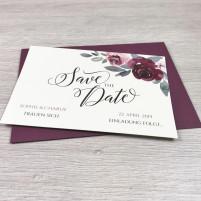 Save the Date Karte - Classic Bordeaux - A6 mit Briefumschlag