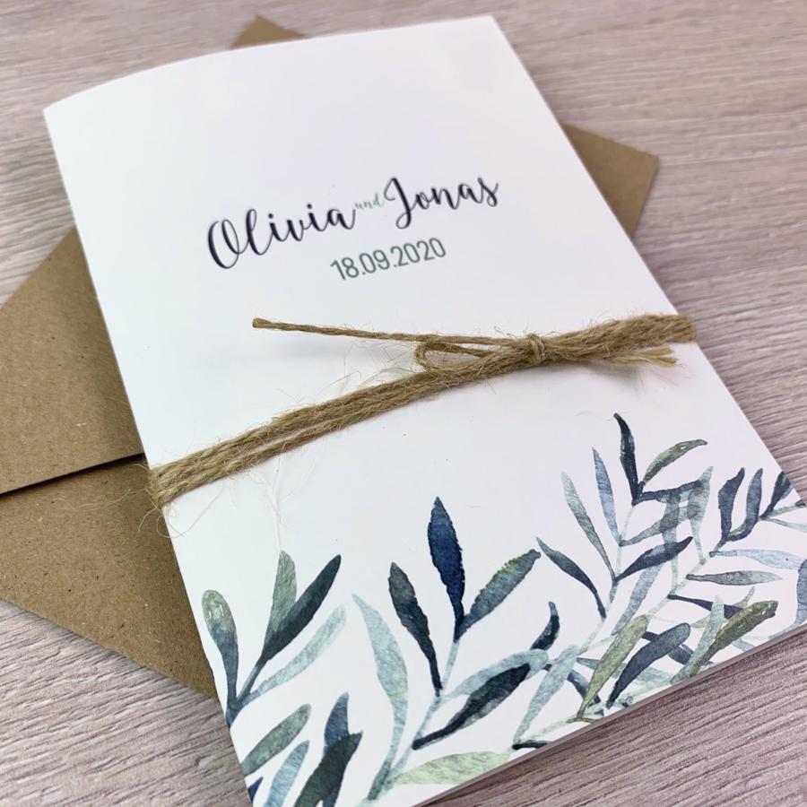 Einladung - Olivenzweige Klappkarte