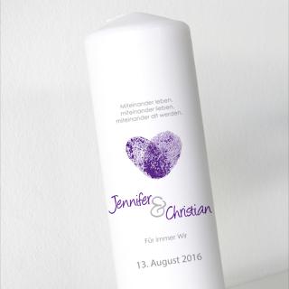 Hochzeitskerze - Fingerabdruck Violett