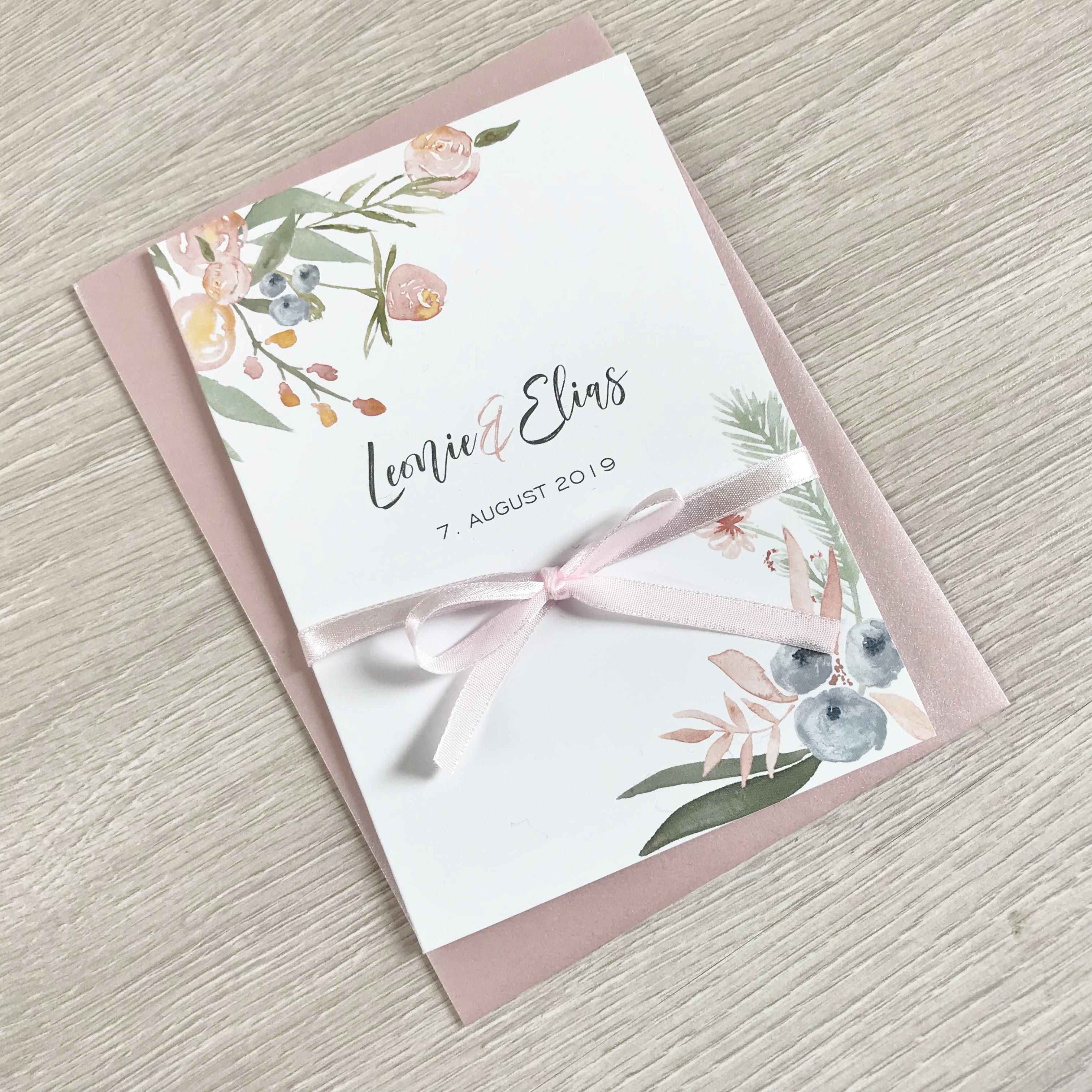 Einladungskarten Hochzeit Altrosa