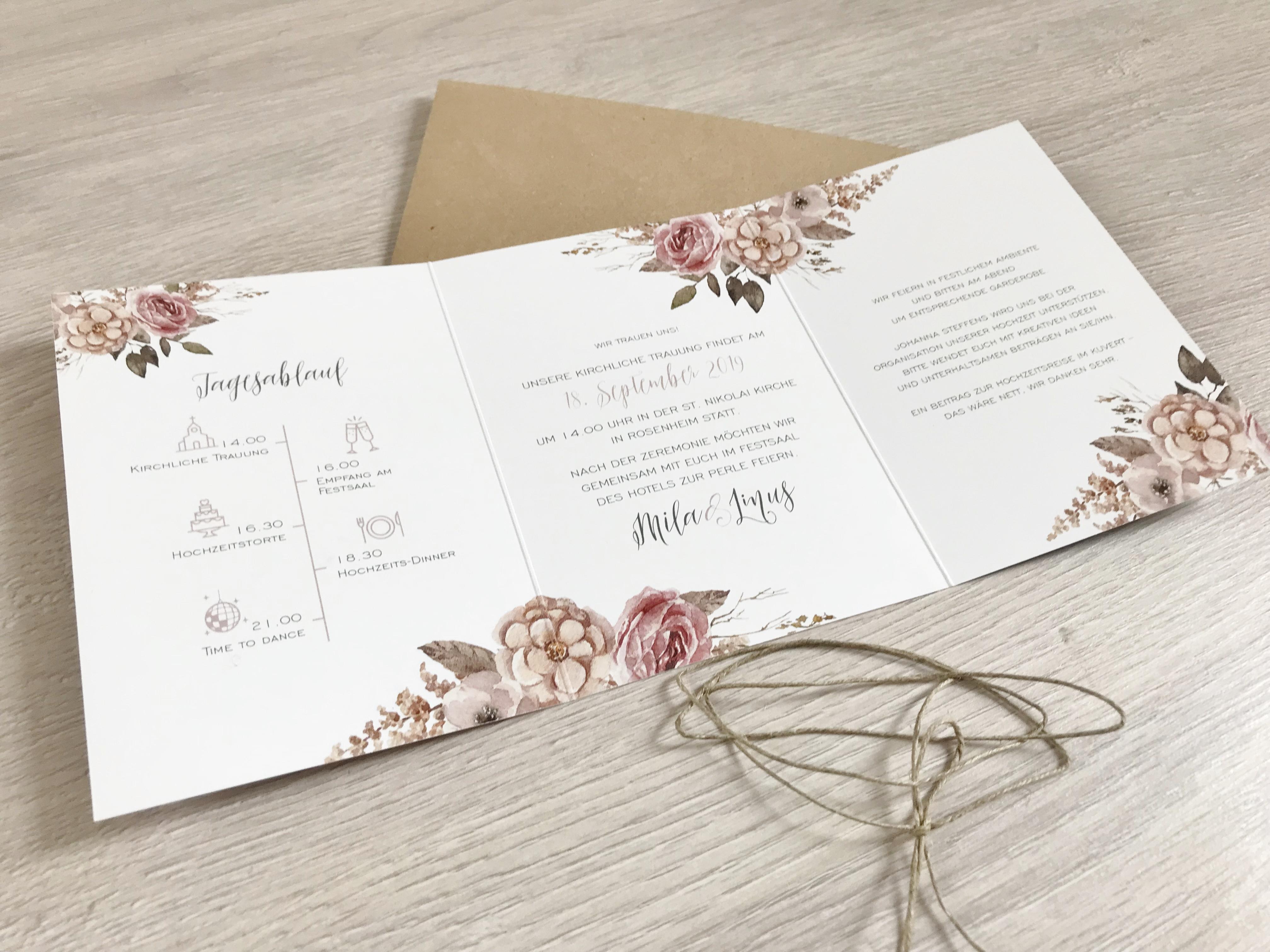 Einladung   Boho/Rustikal   6 Seitig