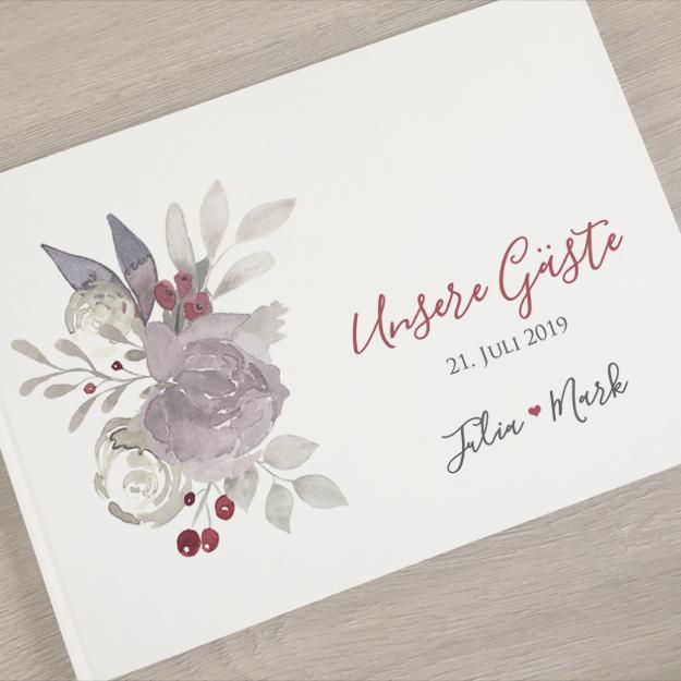 Gastebuch Hochzeit Blumen Klassisch Blumen Pastell Mywedding