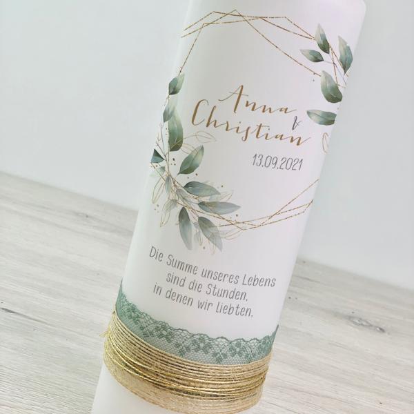 Hochzeitskerze - Blätterkranz & Spitze