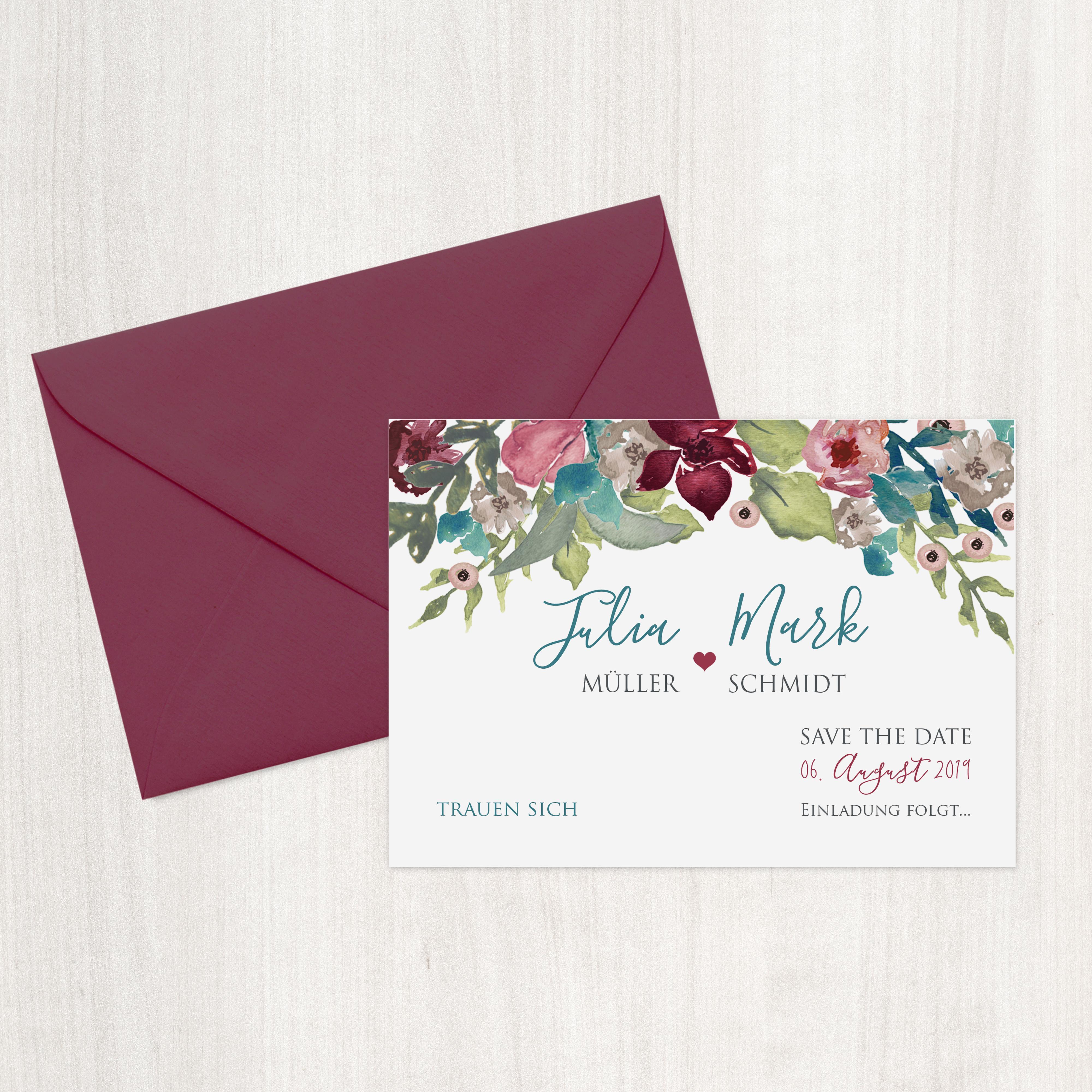 Save The Date Karten Vintage.Save The Date Karte Vintage Boho Blumen Bordeaux Mywedding